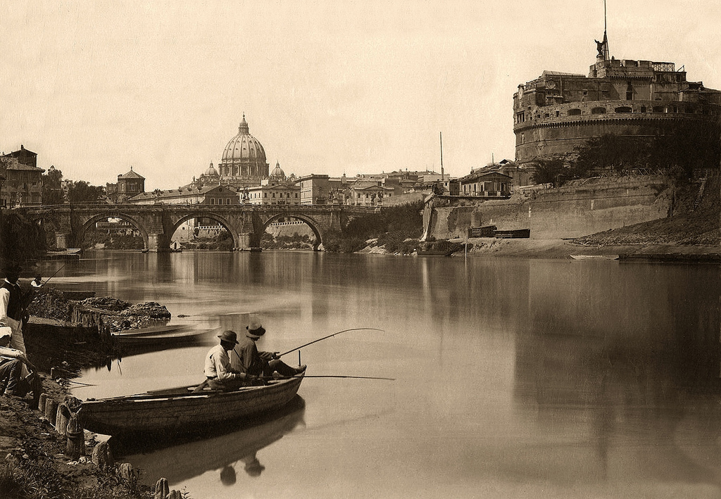 Fishing at the river in Rome, Italy, 1885